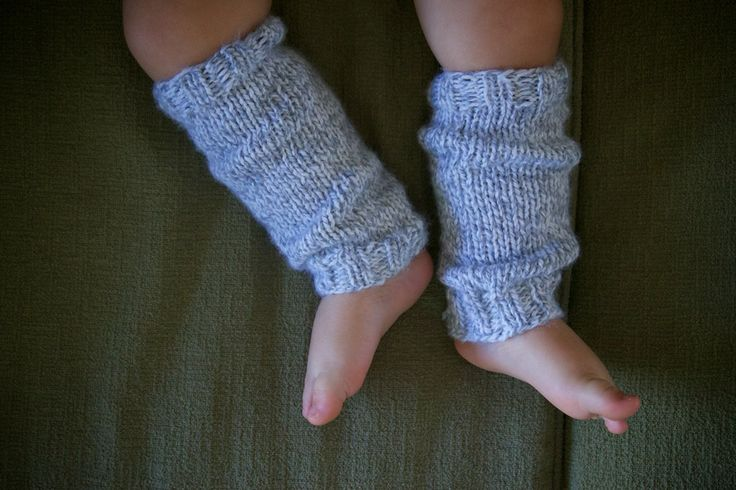 "Baby leg warmers in ""Summer Fog"" knit with love by http://alyssaprice.com"