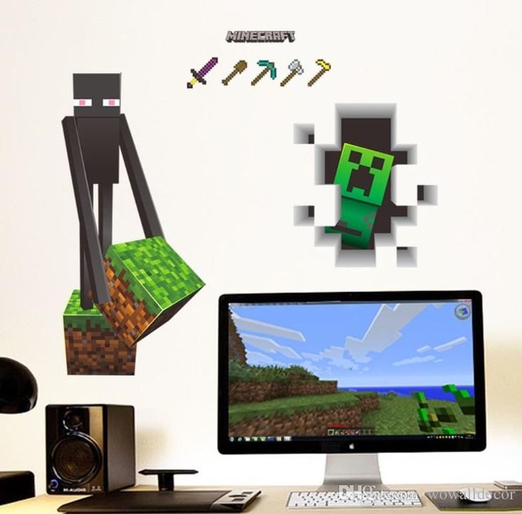 Minecraft Enderman Creeper Wall Stickers Creeper Decorative Wall Decal Wallpaper Kids Party Decoration Christmas Wall Art