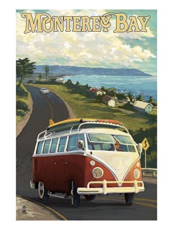 Monterey, California - VW Van Kunstdruck