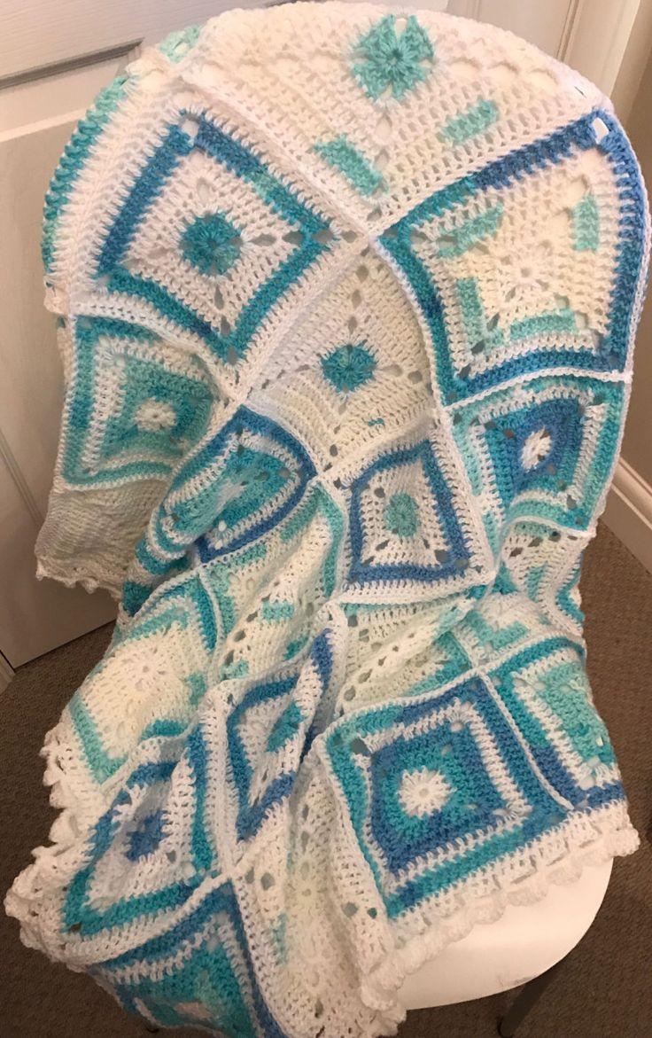Handmade Crochet Blue and White Patchwork Baby Blanket by EarlyBrightcrochet on Etsy