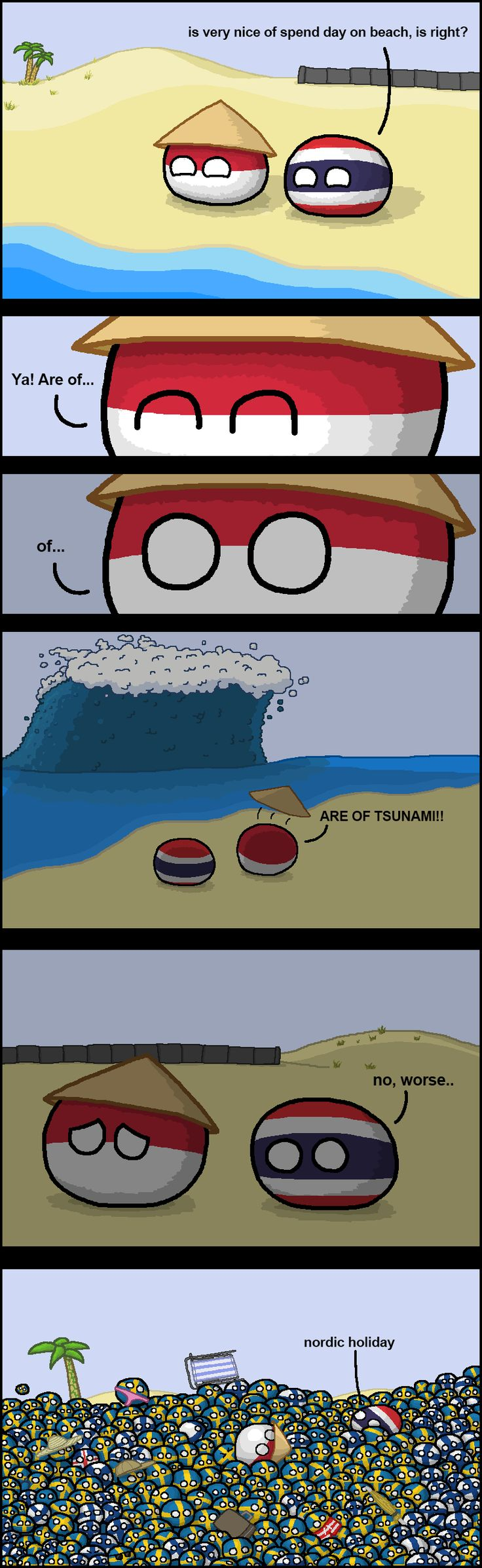 """Thailand the doomed"" (Indonesia, Thailand, Sweden, Finland, Iceland ) by zimonitrome #polandball #countryball"