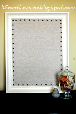 Nailhead Trim Corkboard -Had to look for the linen but eventually found it at fabric store and covered the cork foam board. Smooth it out and glue it down. Had to really hunt for the nailhead but it really makes the look I was looking for.