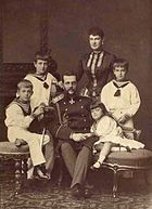 From left to right: Grand Duke Andrei, Grand Duke Kirill, Grand Duke Vladimir Alexandrovich, Grand Duchess Maria Pavlovna, Grand Duchess Elena and Grand Duke Boris.