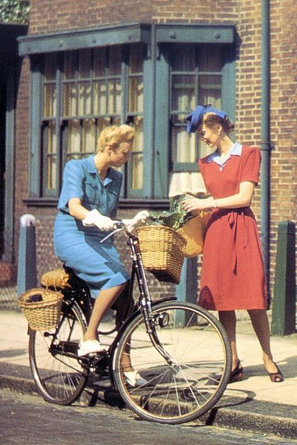 1943 British Bike fashion vintage fashion style color photo print ad street found 40s dress blue red day casual