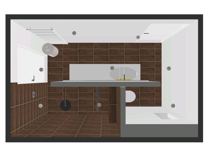 Ennovy badkamer ontwerp met mosa tegels en gestukadoorde wanden. combinatie wit - bruin - oranje