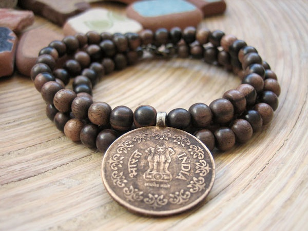 Original Tiger Ebony Necklace with Vintage Tribal Coin from Nepal by Merkaba Warrior, Etsy