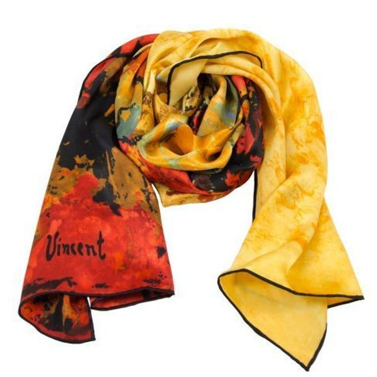 Silk Scarf w motif The Red Vineyards by Vinzent van Gogh silk screened by hand #Rosberg #Scarf