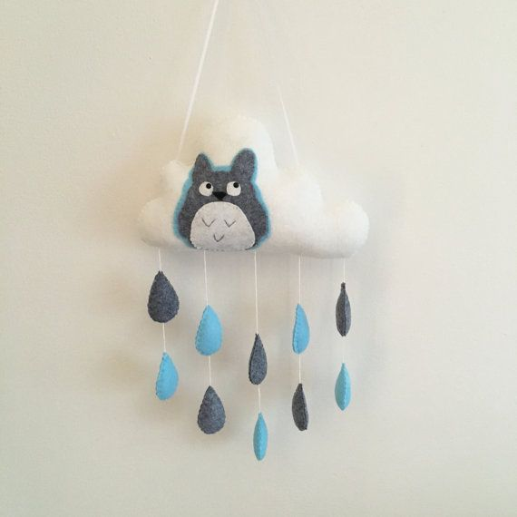 Tenture murale nuage de pluie Totoro bleu et gris