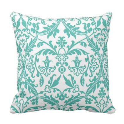 Elegant Turquoise and White Damask Pattern Throw Pillow - classic gifts gift ideas diy custom unique
