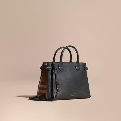 sac the banner medium en cuir et coton house check noir femme burberry