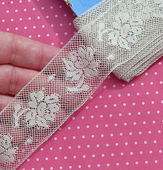 vintage french lace trim | Antique Lace Vintage Lace Trim Valenciennes Lace French Lace Roses