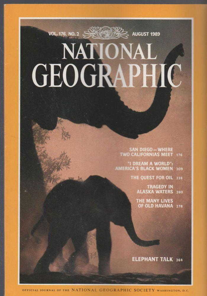 August 1989 NATIONAL GEOGRAPHIC  Magazine ELEPHANT TALK