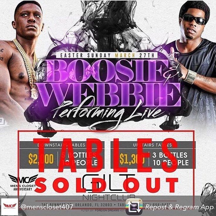 Tables Sold Out  Get your tickets before its to late. #MensClosetAnniversaryParty #Boosie #Webbie #EasterSunday #March27  #MARCH27 #EASTERSUNDAY #GILTNIGHTCLUB #EASTORLANDO #DOWNTOWNORLANDOFL #WESTORLANDO #TAMPA #TALLAHASSEE #DELAND #DAYTONA #CLERMONT #IDRIVE #KISSIMMEE #SANFORD #UCF #SCC #VALENCIA #FSU #UF #UM #USF #WEOPEN #WEOPENPROMOTIONS by weopen_otown - #giltnightclub #giltorlando #aperturestudiosmedia #edm #orlando #orlandonightlife