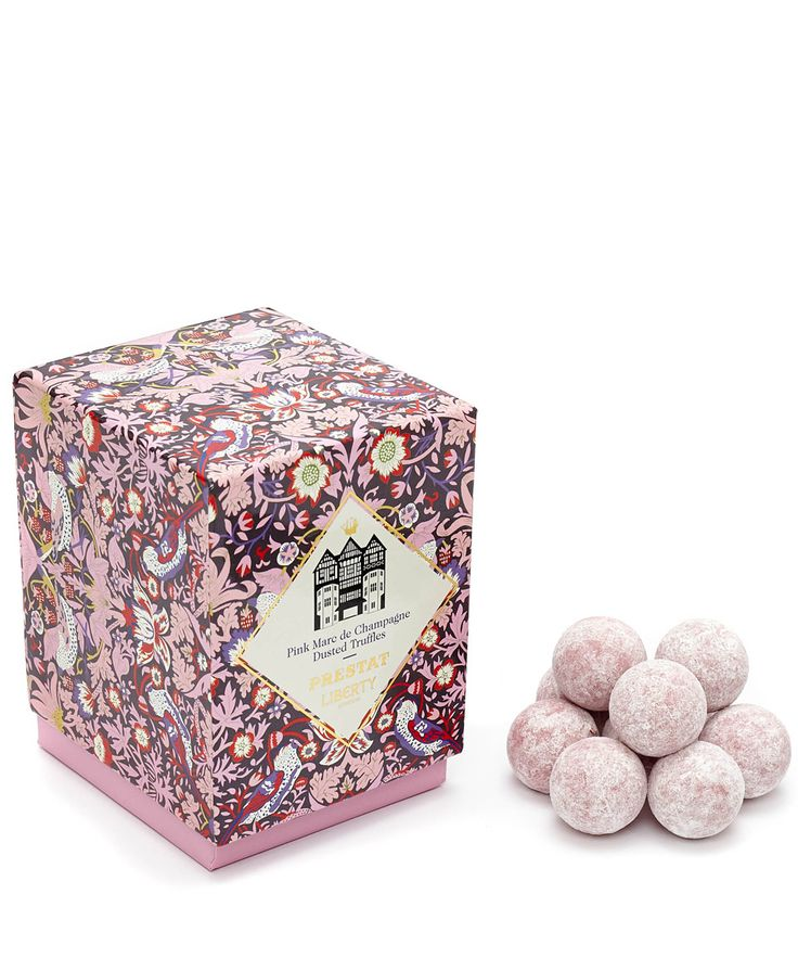 Flowers of Liberty Prestat Pink Marc de Champagne Dusted Truffles | Chocolate | Liberty.co.uk