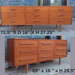 REFINISHED Mid Century Modern Teak Dressers 9 Drawers Beautiful, priced SEPARATELY