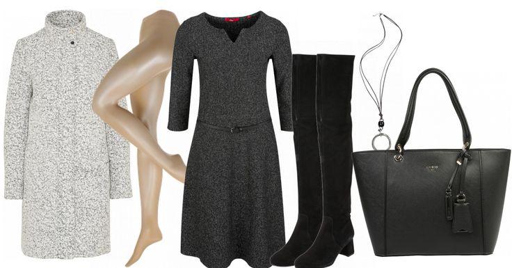 Dieses Freizeit Outfit eignet sich super für die Arbeit. Der Fokus liegt hier auf dem grauen Jersey Kleid von s.Oliver. Dazu passen der hellgraue Wollmantel von Vila, die schwarzen Overknees von Edited und die schwarze Schultertasche von Guess. Die Strumpfhose und die Kette runden den Look ab.