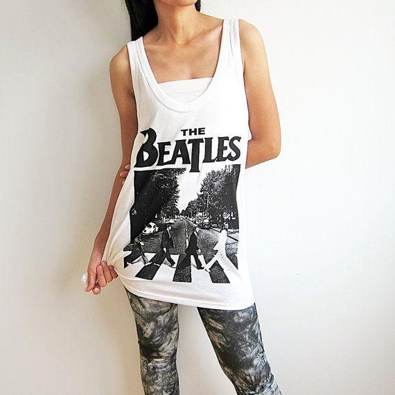 LE BEATLES chemise débardeur blanc T Shirts par PunkRockTshirt, $15.00