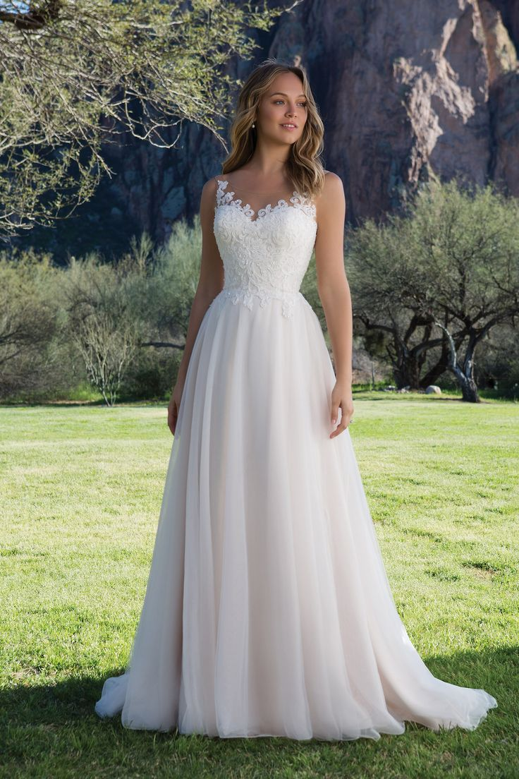Justin Alexander Sweetheart Collection- Tulle A-Line Gown with Scoop Lace Neckli…