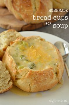 Homemade Bread Cups for Soup - Sugar Dish Me I love bread bowls! But they are always too big. These bread cups are the PERFECT size and are ready to fill & eat in just an hour.