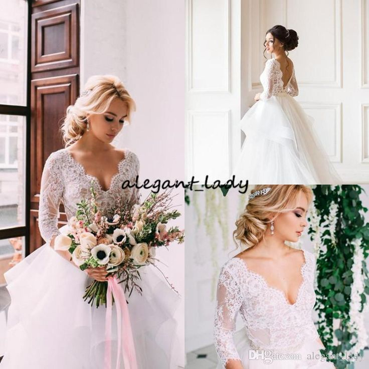 Lace Country Wedding Dresses With Sleeve V Neck Tiered Tulle Indian Wedding Dresses Winter Royal Low Back Bridal Gown 2019 Overskirt Evening Dress Mermaid Wedding Dress Country Wedding Dress Online with $148.58/Piece on Alegant_lady's Store | DHgate.com