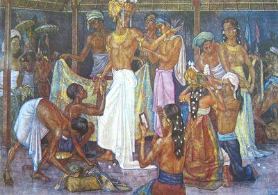 Rudolf Bonnet - Penari-penari Bali sedang berhias (1954).