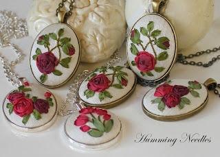 Humming Needles  Silk Ribbon Embroidery pendants
