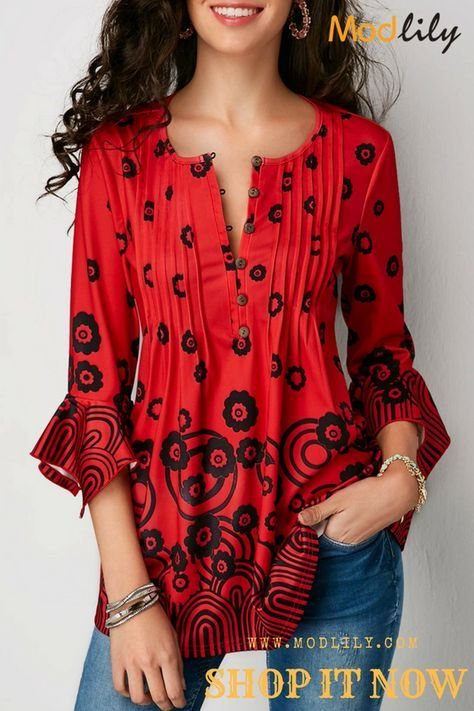 Button Detail Pleated Printed Red Blouse My Style Blouse Red