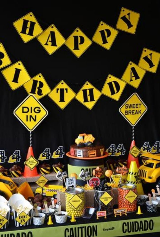 Construction Birthday Party Decorations www.spaceshipsandlaserbeams.com