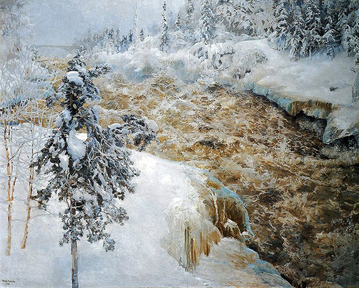 "gallen kallela akseli  winter scene from imatra 1893 helsinki nationalgalerie finnland (from <a href=""http://www.oldpainters.org/picture.php?/25565/search/170""></a>)"