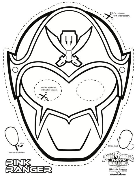 Pink Power Ranger Colouring Mask                                                                                                                                                                                 Mais