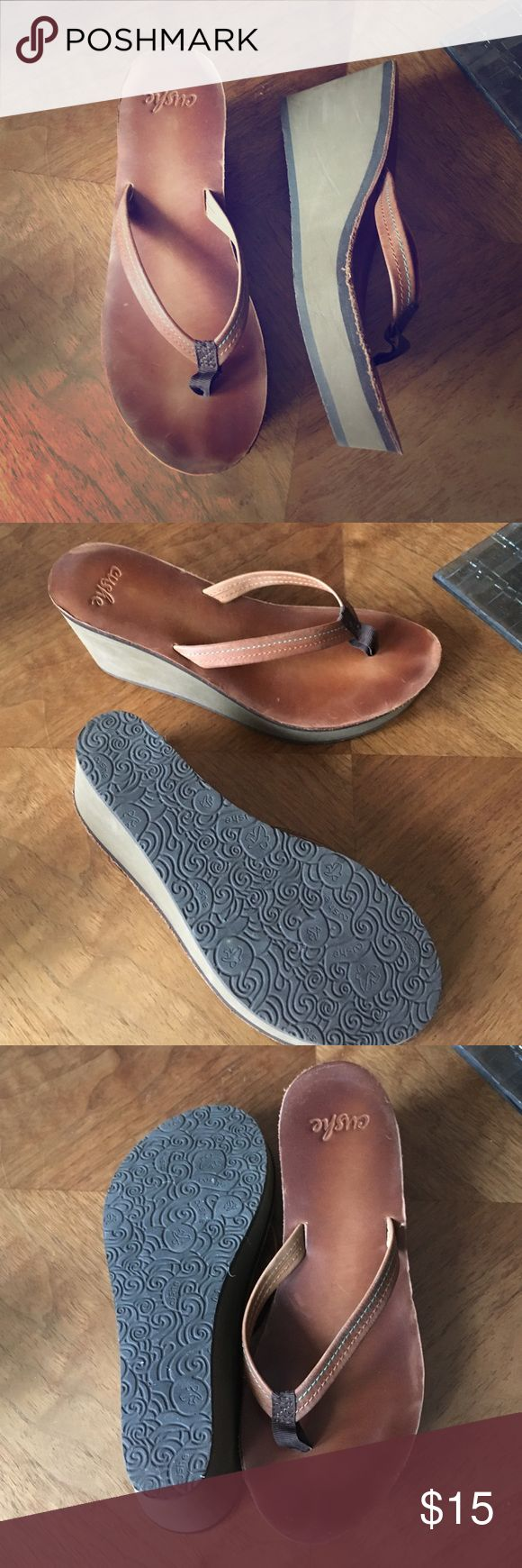 "Leather Cushe FlipFlops The Wedge Heel gives these Casual Sandals a Stylish Feel. They've been worn only a few times. Heel is 3"". Cushe Shoes Sandals"