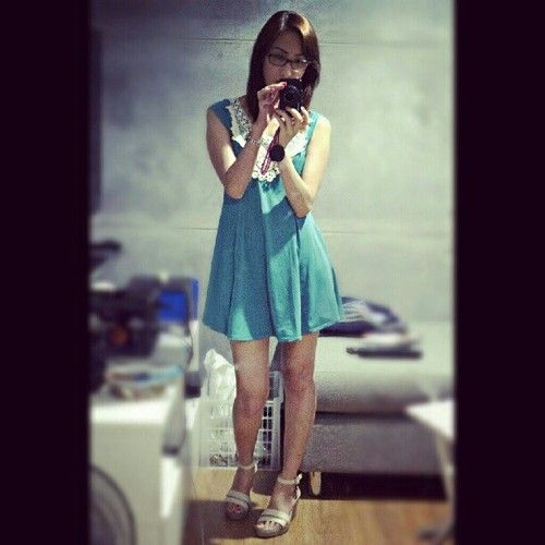 Shoes from Crocs, dress from my Mom, lol