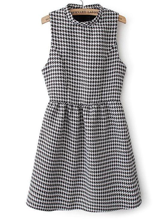 Vestido pata de gallo sin manga-Blanco y negro EUR€24.85