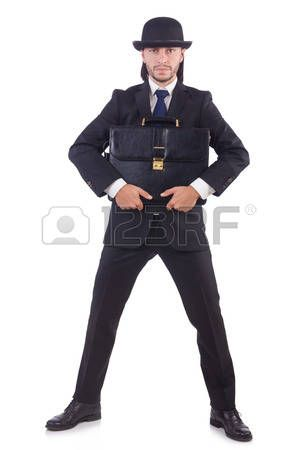 цилиндры котелки шляпы: Young businessman isolated on the white background