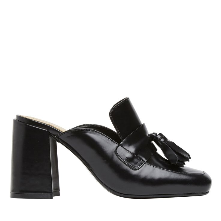 Mule block heel with tassel detail. Heel height 9.5cm. Leather upper, synthetic lining and synthetic sole.