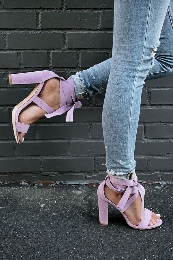 001ce0098544 The Mia Faux Suede Lace Up Heel in Heirloom Lilac- 34