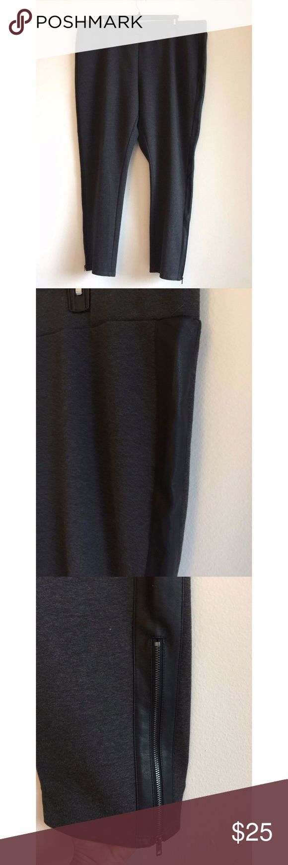 """NWOT Lane Bryant Gray Tuxedo Stripe Pants Sz 28 New w/o tags Inner label marked to prevent store returns  Size: 28 Color: Gray w/ Black Tuxedo Stripe Cotton/Polyester/Spandex  Stretch Waistband Ponte Knit Ankle Zip Machine Wash  Measurements (approx, taken flat across): Waist 24"""", Rise 14.5"""", Hips 28"""", Inseam 29"""", Leg opening 7.5"""" Lane Bryant Pants"""
