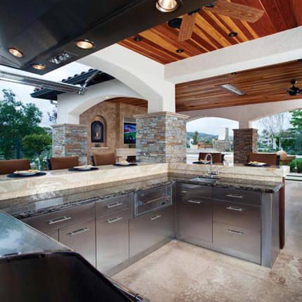 Awesome Danver Stainless Steel Outdoor Kitchen Cabinets Are Topped With Natural  Stone Counter Tops In This Elegant Nice Design