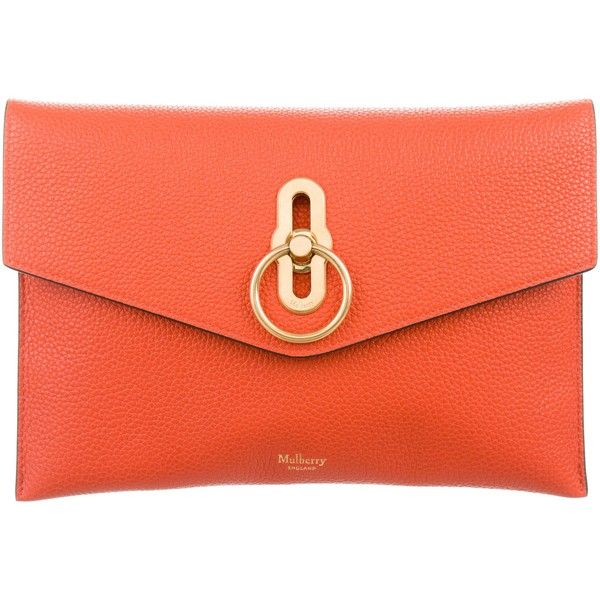 Pre-owned Mulberry 2018 Amberley Clutch (10,205 EGP) ❤ liked on Polyvore featuring bags, handbags, clutches, orange, man bag, red purse, red hand bags, orange clutches and orange leather purse