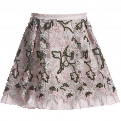 Ermanno Scervino Girls Floral Embroidered Tuelle Skirt at Childrensalon.com