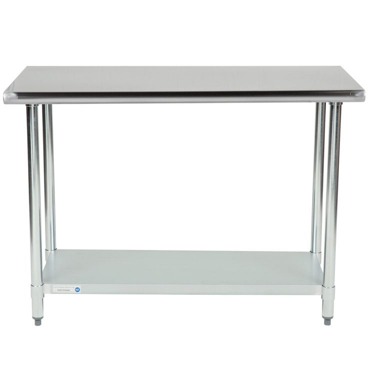 """If you are looking for a work table that will support the needs of your business without breaking the bank, look no further than this 18 gauge economy 24"""" x 48"""" 430 stainless steel work table with an undershelf! This table is made to perform the basic tasks of a work table like offering you a place to prepare fruits and vegetables, open cans, mix ingredients, and plate meals but without the initial cost of a heavier gauge table.<br><br> Ideal for areas of your business t..."""