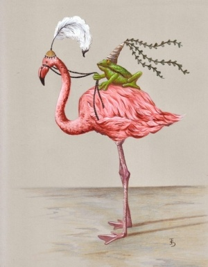 A frog prince and his flamingo princess.