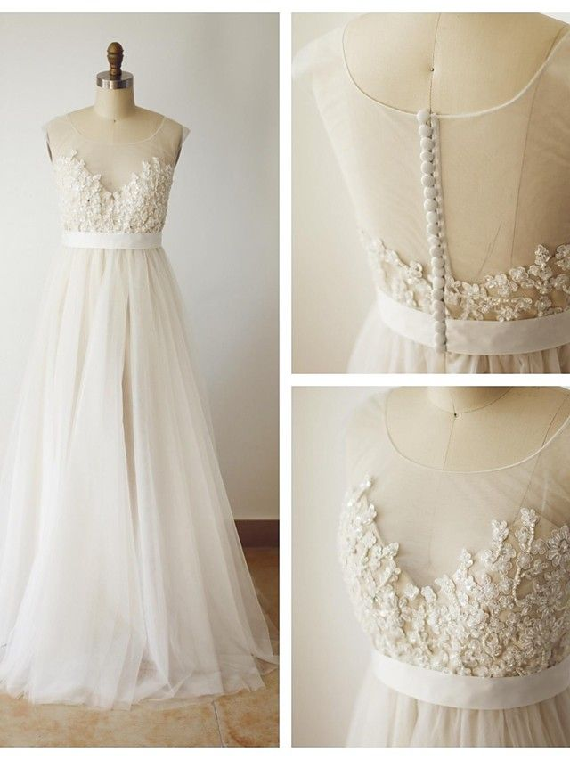 A-line Wedding Dress - Champagne Sweep/Brush Train Scoop Lace - USD $149.99