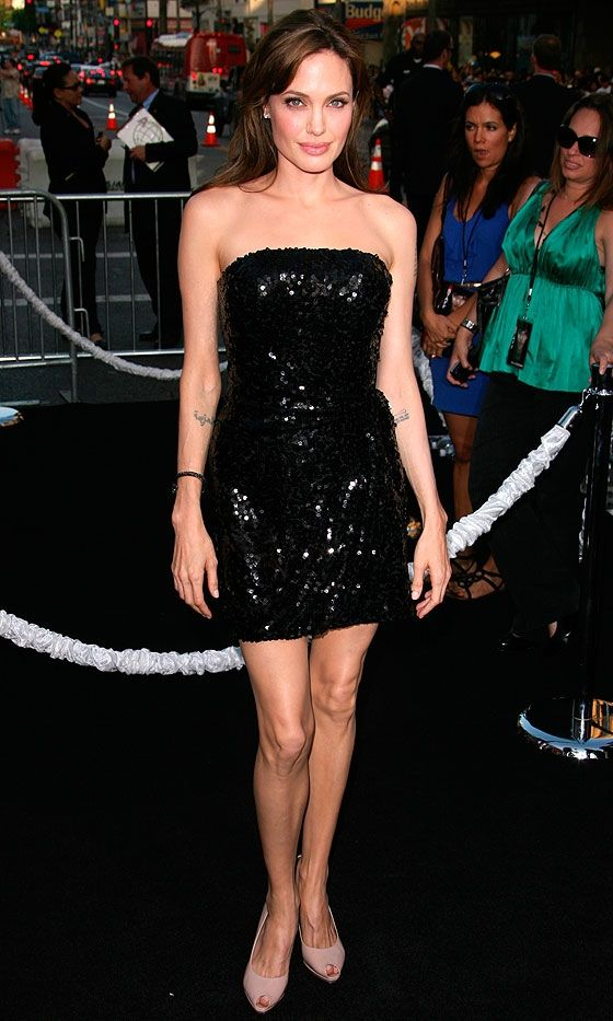 Angelina Jolie Wearing An Emporio Armani Sequin Mini Dress To The Premiere Of Her New Film Salt, 2010