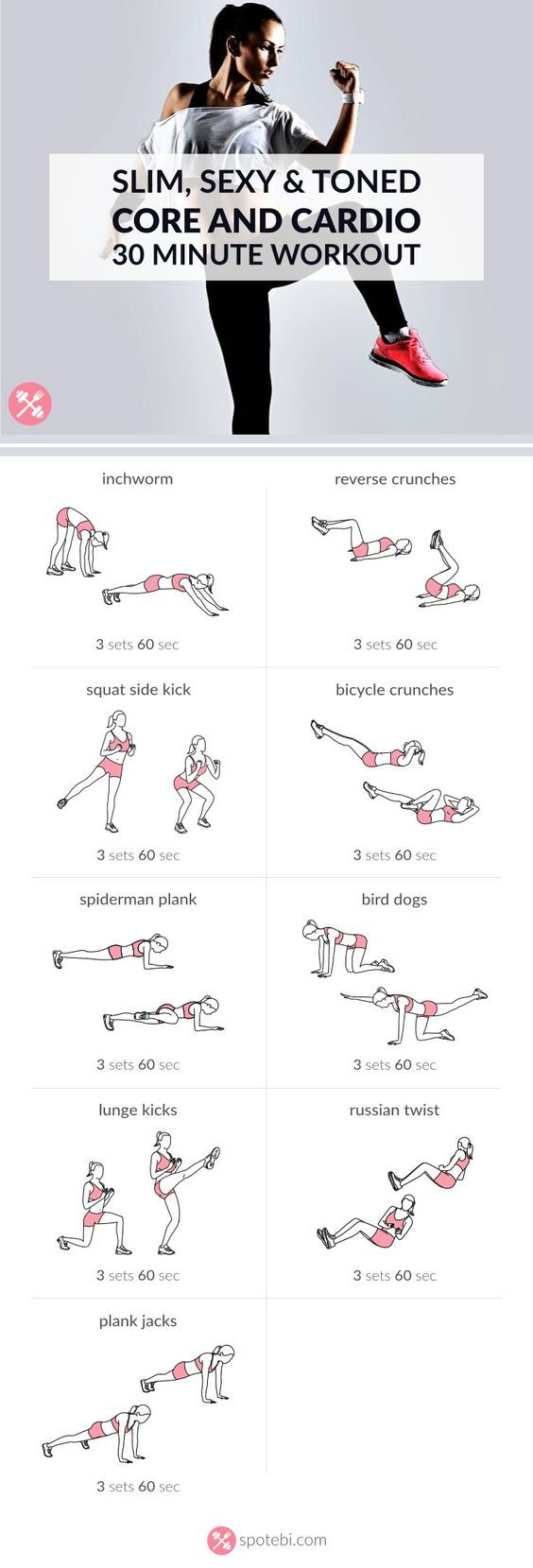 Work your abs, obliques and lower back with this core and cardio workout. Increase your aerobic fitness at home and get a toned, sculpted and slim belly. http://www.spotebi.com/workout-routines/bodyweight-at-home-core-and-cardio-workout/Work you