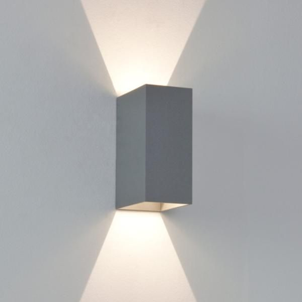 Oslo 160 Painted Silver IP65 Up-and-Down LED Wall Light for Outdoor Lighting, @astrolighting 7060 via SparksDirect.co.uk