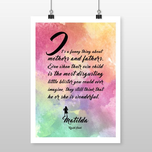 Matilda quote print by Roald Dahl, First Line quote, poster, wall art, new baby gift, quote print, birthday, Nursary art, baby shower by GallerySixtyFive on Etsy