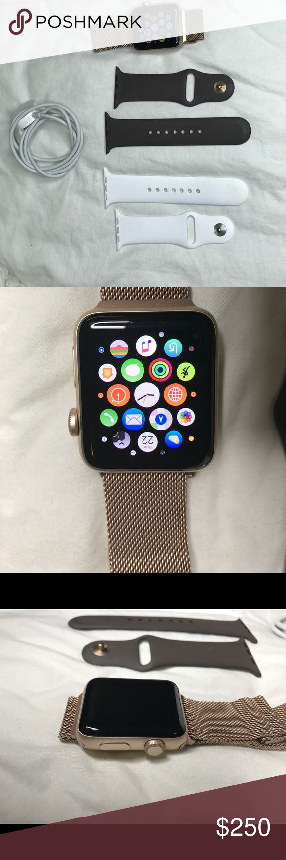 Apple Watch Series 2 42mm Gold Apple Watch. Excellent condition. No visible signs of wear. No scratches or marks on Watch face. Come with Black, white, gold band & charger. Box not included. I am the original owner. Purchased in 2017. Apple Accessories Watches