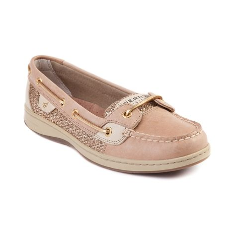 Shop for Womens Sperry Top-Sider Angelfish Boat Shoe in Linen Gold at Journeys Shoes. Shop today for the hottest brands in mens shoes and womens shoes at Journeys.com.Classic skimmer from Sperry featuring a leather upper with glittery linen side accent, top stitching on toe, and leather laces.