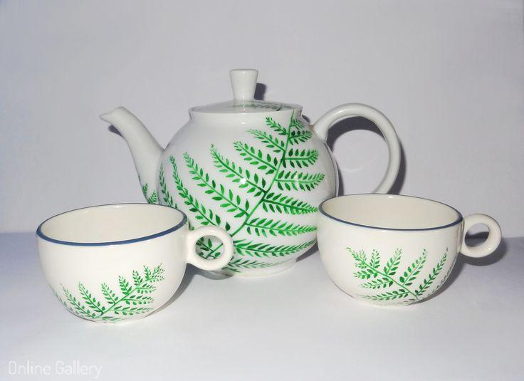 Set ceainic cu cescute pictate manual #handmade #painted #art #ceramic